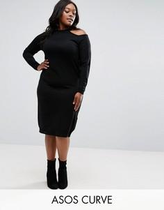 Трикотажное платье миди с открытыми плечами ASOS CURVE - Черный