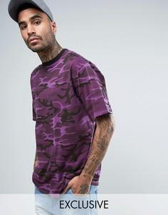 Фиолетовая свободная футболка с камуфляжным принтом Reclaimed Vintage Inspired - Фиолетовый