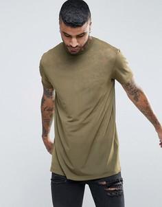 Длинная футболка из тонкой сетки цвета хаки ASOS - Зеленый