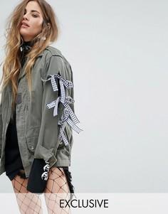 Куртка в стиле милитари с бантами Reclaimed Vintage Revived - Зеленый