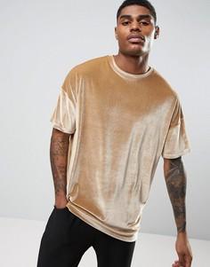 Велюровая футболка песочного цвета в стиле oversize ASOS - Коричневый