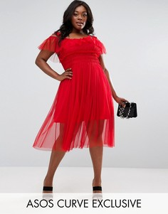 Платье миди с юбкой из тюля ASOS CURVE - Красный