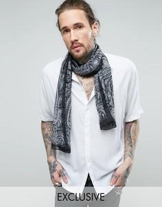 Черный шарф с принтом пейсли Reclaimed Vintage - Черный