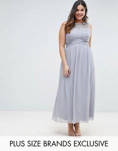 Платье макси с отделкой Little Mistress Plus - Серый