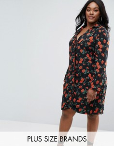 Платье-рубашка с принтом маков Missguided Plus - Черный