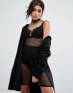 Сетчатое платье на тонких бретельках Bones - Черный