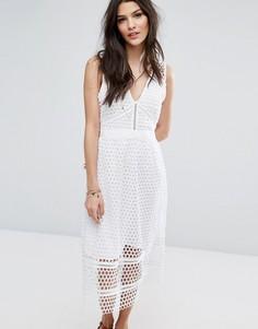 Кружевное платье миди с молнией на спине Abercrombie & Fitch - Белый