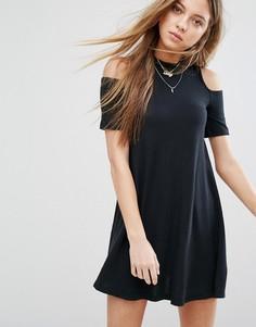 Платье с вырезами на плечах Hollister - Черный