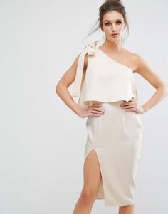 Платье миди на одно плечо с бантом Missguided - Розовый