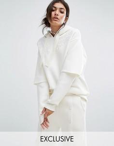 Свободный худи с двухслойными рукавами и кружевными нашивками Bones - Белый