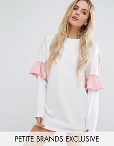 Трикотажное платье с контрастными оборками на рукавах Missguided Petite - Белый
