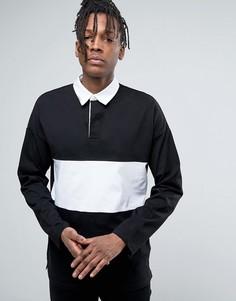 Черная свободная футболка-поло с длинными рукавами и контрастной вставкой ASOS - Черный