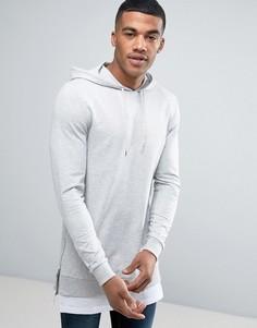 Обтягивающий худи с молниями по бокам и эффектом футболки внизу ASOS - Серый