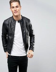 Байкерская куртка из искусственной кожи на молнии Blend - Черный