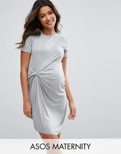 Платье-футболка с присборенной драпировкой ASOS Maternity - Серый