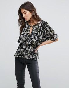 Блузка с цветочным принтом Fashion Union - Черный