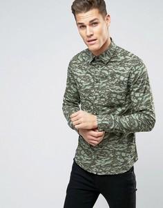 Рубашка классического кроя с камуфляжной отделкой Blend - Зеленый