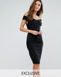Платье-футляр с корсетом и открытыми плечами Vesper - Черный