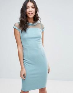 Платье-футляр с сетчатыми вставками Little Mistress - Мульти
