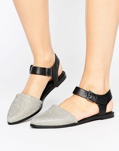 Туфли из 2 частей на плоской подошве с пряжкой Vero Moda - Серебряный