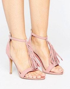 Босоножки на каблуке с бахромой Vero Moda - Розовый