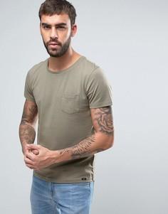 Однотонная футболка с карманом на груди Lee - Зеленый