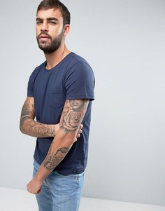 Однотонная футболка с карманом на груди Lee - Темно-синий