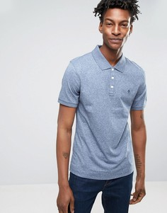 Хлопковая зауженная футболка-поло в рубчик Original Penguin - Синий