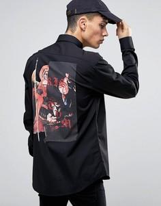 Рубашка с принтом ангел на спине Systvm - Черный
