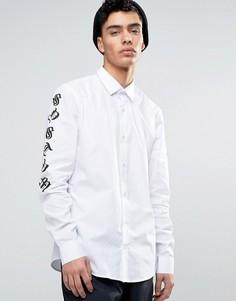 Рубашка с принтом на рукавах Systvm - Белый