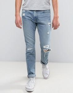 Светлые джинсы с рваной отделкой Abercrombie & Fitch - Синий