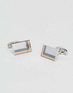Прямоугольные запонки с эмалированной отделкой Paul Smith - Серебряный