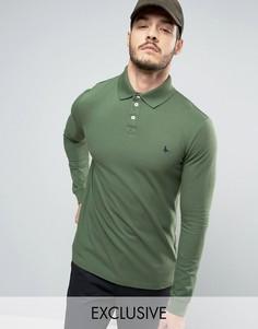 Футболка-поло цвета хаки с длинными рукавами Jack Wills Staplecross - Зеленый