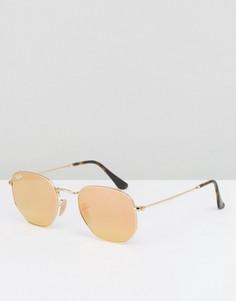 Круглые солнцезащитные очки с золотистыми стеклами Ray-Ban - Розовый