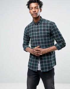 Клетчатая рубашка узкого кроя на пуговицах из хлопка с начесом Minimum Tahi - Зеленый