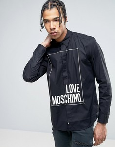 Рубашка с принтом логотипа Love Moschino - Черный