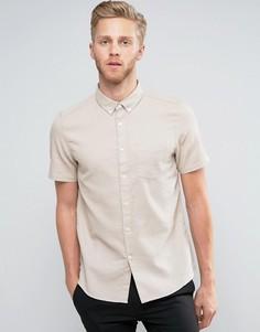 Приталенная рубашка с короткими рукавами и вафельной текстурой Burton Menswear - Stone