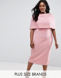 Платье миди с кейпом Club L Plus - Розовый