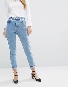 Джинсы в винтажном стиле с эффектом кислотной стирки Miss Selfridge - Синий