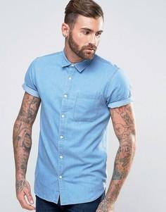 Выбеленная джинсовая рубашка классического кроя с коротким рукавами New Look - Синий