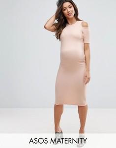 Облегающее платье в рубчик с открытыми плечами ASOS Maternity - Розовый