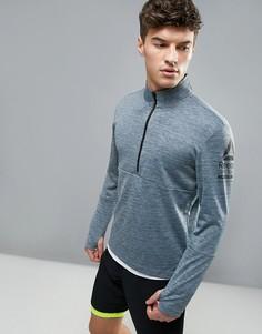 Серый меланжевый свитшот на молнии 1/4 Reebok Running B47138 - Серый