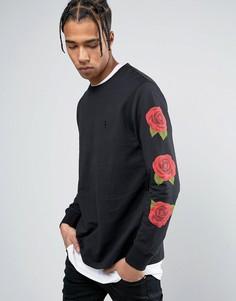 Черный лонгслив с прином роз на рукавах Criminal Damage - Черный