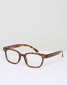 Черепаховые прямоугольные очки с прозрачными стеклами AJ Morgan - Коричневый