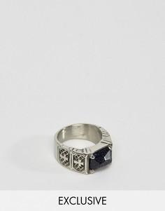 Кольцо с черным камнем и крестиками Reclaimed Vintage Inspired - Серебряный