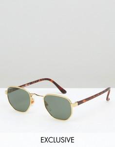 Квадратные солнцезащитные очки в черепаховой оправе Reclaimed Vintage - Золотой