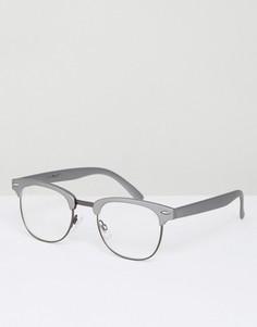 Очки с прозрачными стеклами в оловянной полуоправе AJ Morgan - Серый