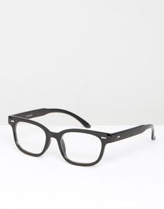 Черные прямоугольные очки с прозрачными стеклами AJ Morgan - Черный