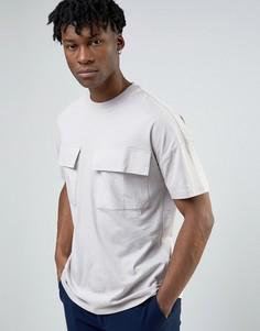 Серая длинная oversize-футболка с карманами ASOS - Серый