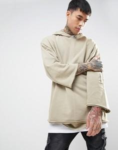 Oversize-худи с необработанными краями и карманом на рукаве ASOS - Бежевый